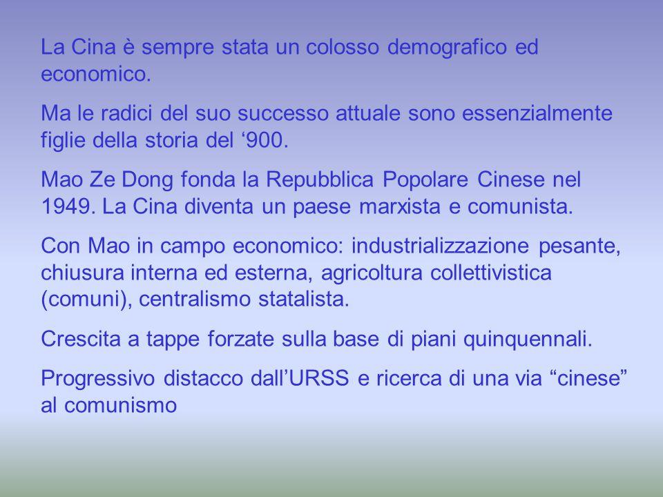 In campo economico, svolta netta dopo la morte di Mao e l'avvento di Deng Xiao Ping (primi anni '80): Apertura verso l'esterno, investimenti, liberalizzazioni economiche, nuovo ruolo dei privati.