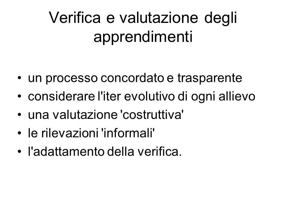Verifica e valutazione degli apprendimenti un processo concordato e trasparente considerare l iter evolutivo di ogni allievo una valutazione costruttiva le rilevazioni informali l adattamento della verifica.