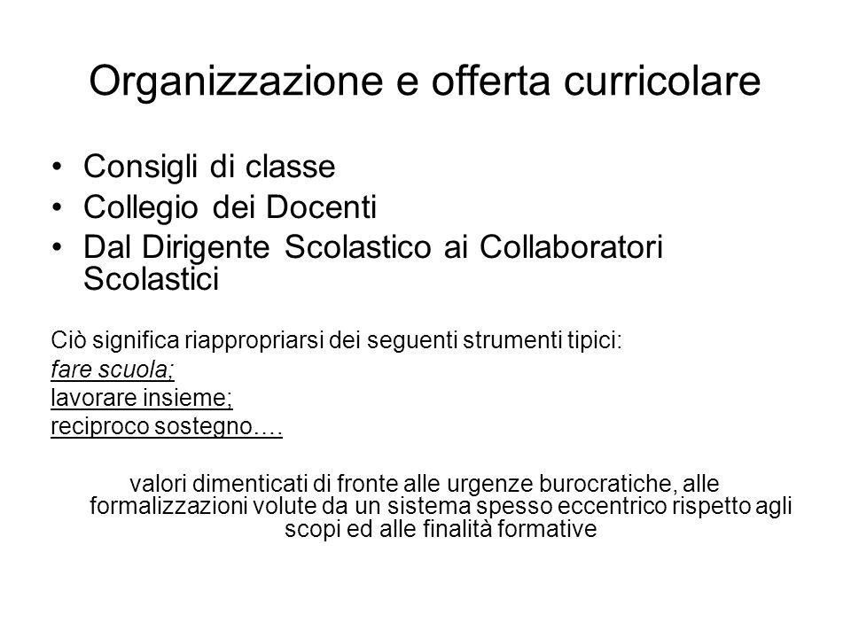 Organizzazione e offerta curricolare Consigli di classe Collegio dei Docenti Dal Dirigente Scolastico ai Collaboratori Scolastici Ciò significa riappr