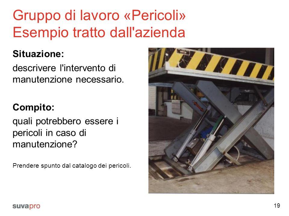 Gruppo di lavoro «Pericoli» Esempio tratto dall'azienda Situazione: descrivere l'intervento di manutenzione necessario. Compito: quali potrebbero esse