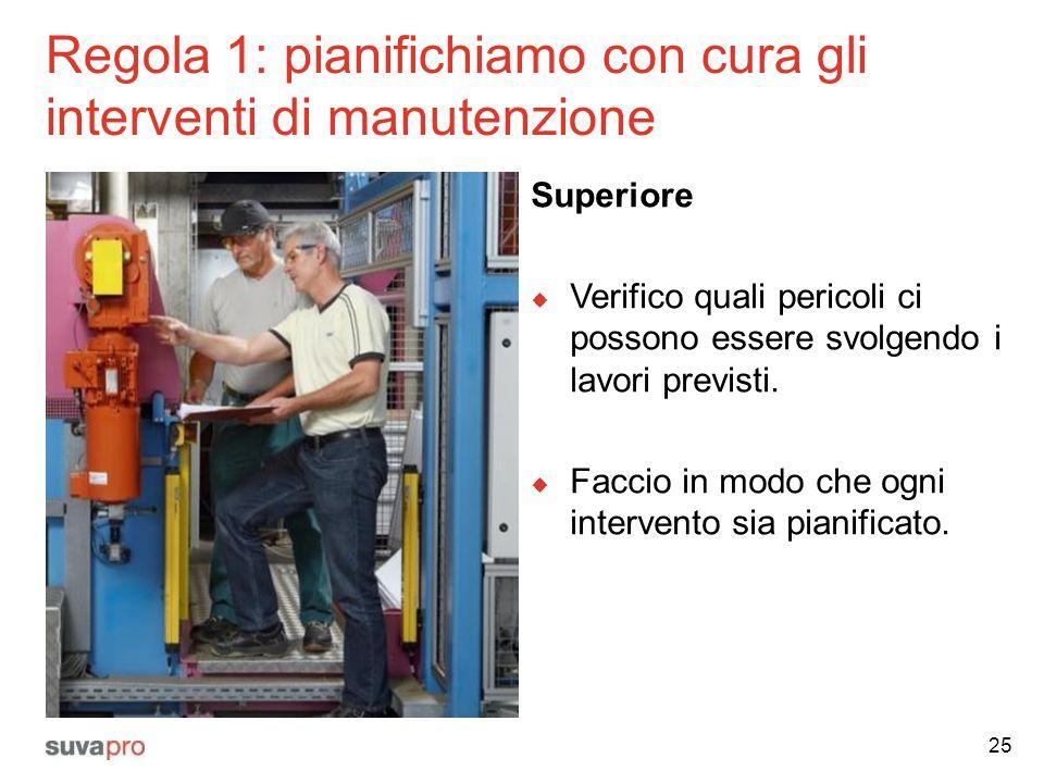 Regola 1: pianifichiamo con cura gli interventi di manutenzione Superiore  Verifico quali pericoli ci possono essere svolgendo i lavori previsti.  F