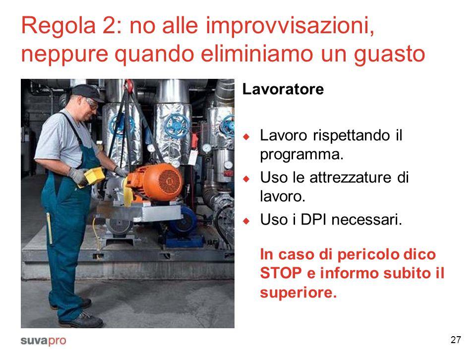 Regola 2: no alle improvvisazioni, neppure quando eliminiamo un guasto Lavoratore  Lavoro rispettando il programma.  Uso le attrezzature di lavoro.