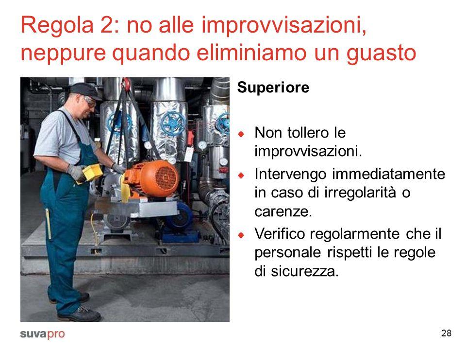 Regola 2: no alle improvvisazioni, neppure quando eliminiamo un guasto Superiore  Non tollero le improvvisazioni.  Intervengo immediatamente in caso