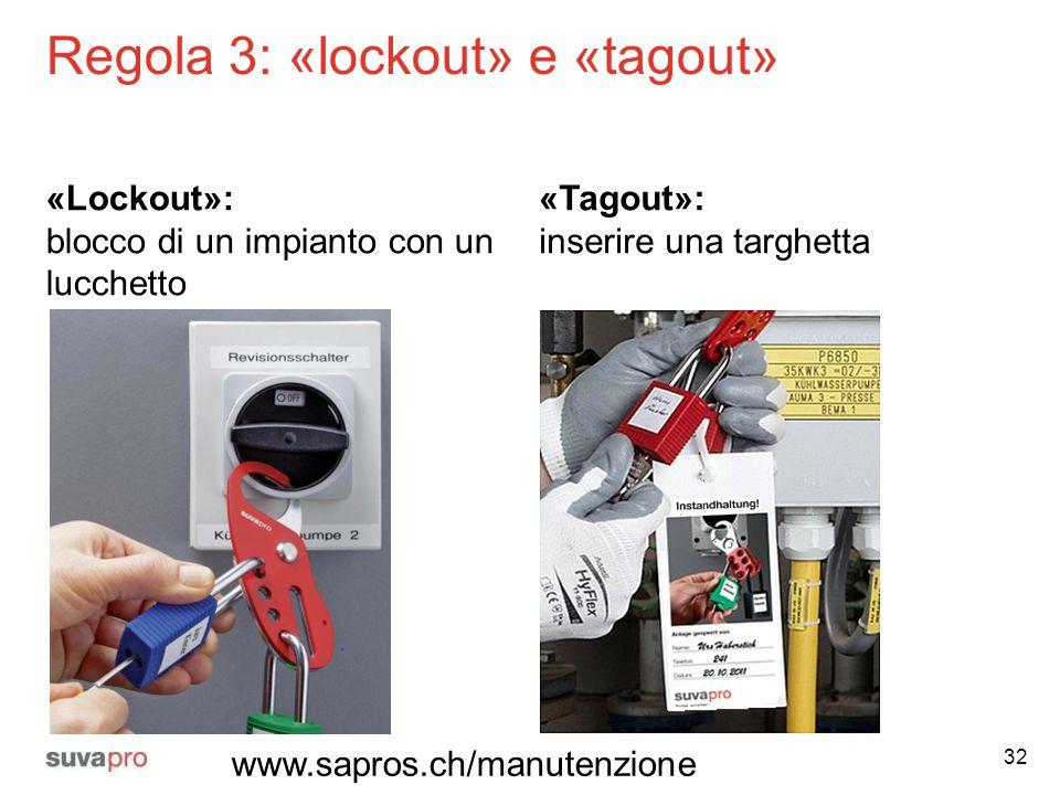 Regola 3: «lockout» e «tagout» «Lockout»: blocco di un impianto con un lucchetto «Tagout»: inserire una targhetta 32 www.sapros.ch/manutenzione