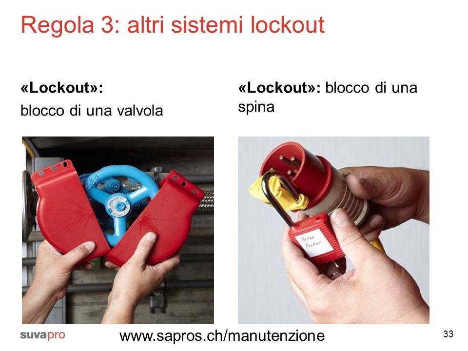 Regola 3: altri sistemi lockout «Lockout»: blocco di una valvola «Lockout»: blocco di una spina 33 www.sapros.ch/manutenzione