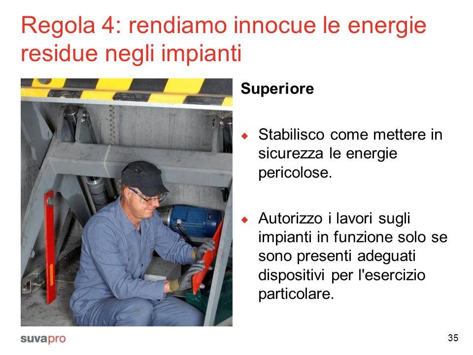 Regola 4: rendiamo innocue le energie residue negli impianti Superiore  Stabilisco come mettere in sicurezza le energie pericolose.  Autorizzo i lav