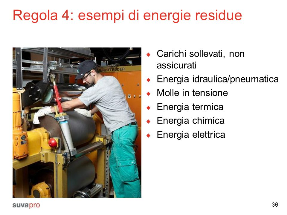 Regola 4: esempi di energie residue  Carichi sollevati, non assicurati  Energia idraulica/pneumatica  Molle in tensione  Energia termica  Energia