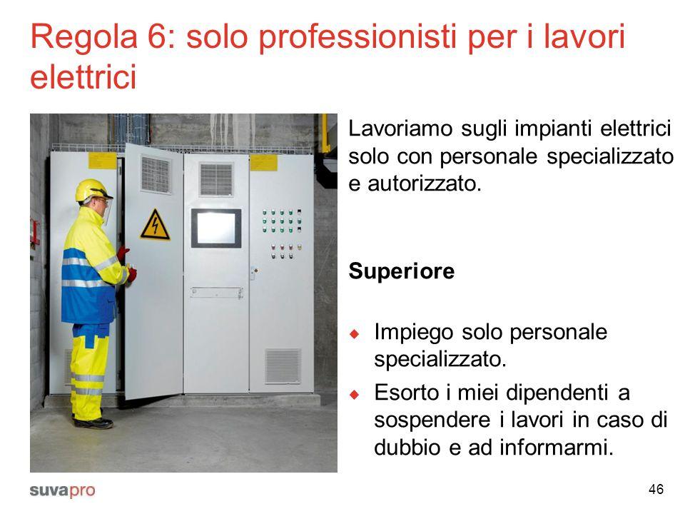 Regola 6: solo professionisti per i lavori elettrici Lavoriamo sugli impianti elettrici solo con personale specializzato e autorizzato. Superiore  Im