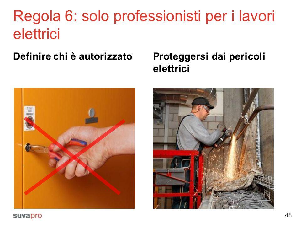 Regola 6: solo professionisti per i lavori elettrici Definire chi è autorizzatoProteggersi dai pericoli elettrici 48