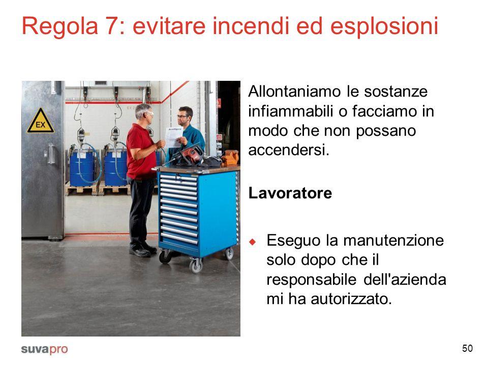 Regola 7: evitare incendi ed esplosioni Allontaniamo le sostanze infiammabili o facciamo in modo che non possano accendersi. Lavoratore  Eseguo la ma