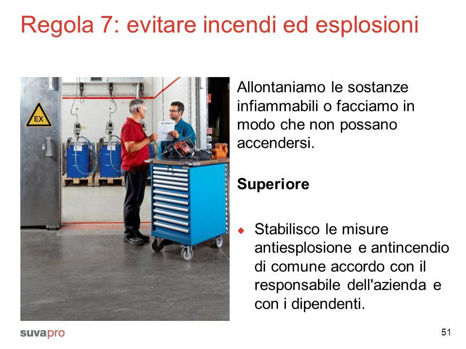 Regola 7: evitare incendi ed esplosioni Allontaniamo le sostanze infiammabili o facciamo in modo che non possano accendersi. Superiore  Stabilisco le