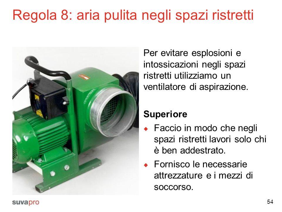 Regola 8: aria pulita negli spazi ristretti Per evitare esplosioni e intossicazioni negli spazi ristretti utilizziamo un ventilatore di aspirazione. S