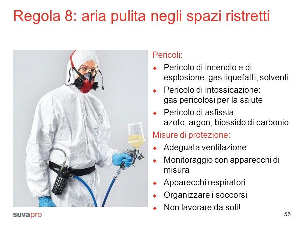 Regola 8: aria pulita negli spazi ristretti Pericoli:  Pericolo di incendio e di esplosione: gas liquefatti, solventi  Pericolo di intossicazione: g