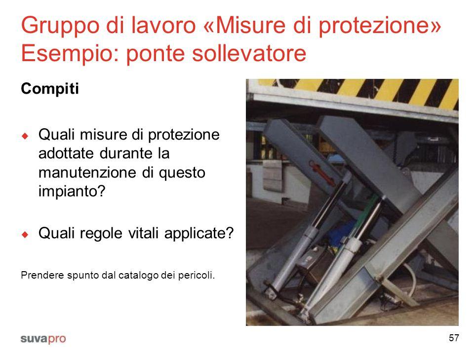 Gruppo di lavoro «Misure di protezione» Esempio: ponte sollevatore Compiti  Quali misure di protezione adottate durante la manutenzione di questo imp