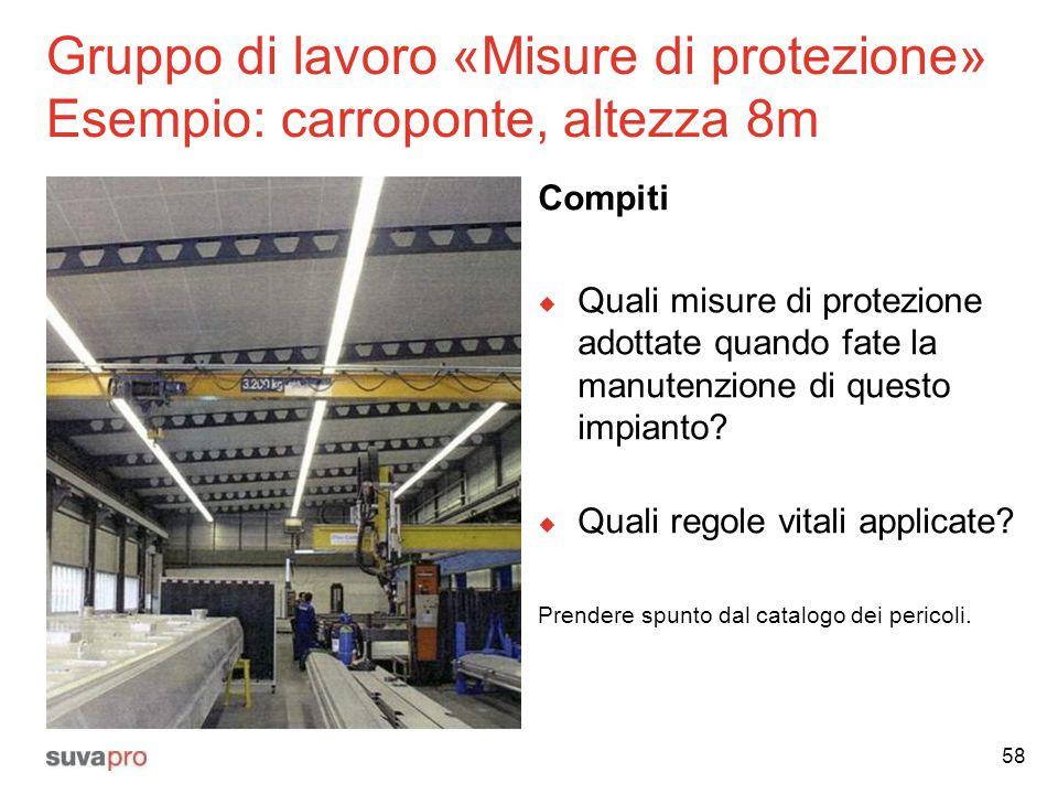 Gruppo di lavoro «Misure di protezione» Esempio: carroponte, altezza 8m Compiti  Quali misure di protezione adottate quando fate la manutenzione di q