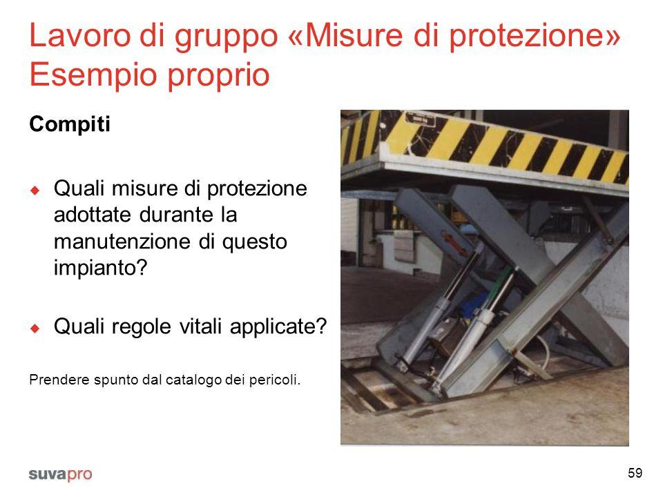 Lavoro di gruppo «Misure di protezione» Esempio proprio Compiti  Quali misure di protezione adottate durante la manutenzione di questo impianto?  Qu