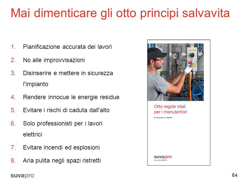 Mai dimenticare gli otto principi salvavita 1.Pianificazione accurata dei lavori 2.No alle improvvisazioni 3.Disinserire e mettere in sicurezza l'impi