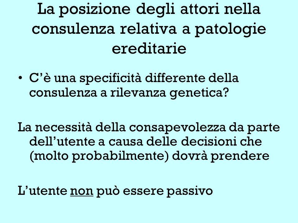 La posizione degli attori nella consulenza relativa a patologie ereditarie C'è una specificità differente della consulenza a rilevanza genetica.