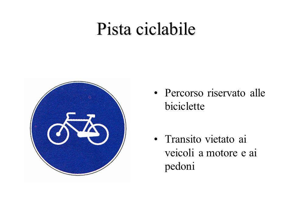 Pista ciclabile Percorso riservato alle biciclette Transito vietato ai veicoli a motore e ai pedoni