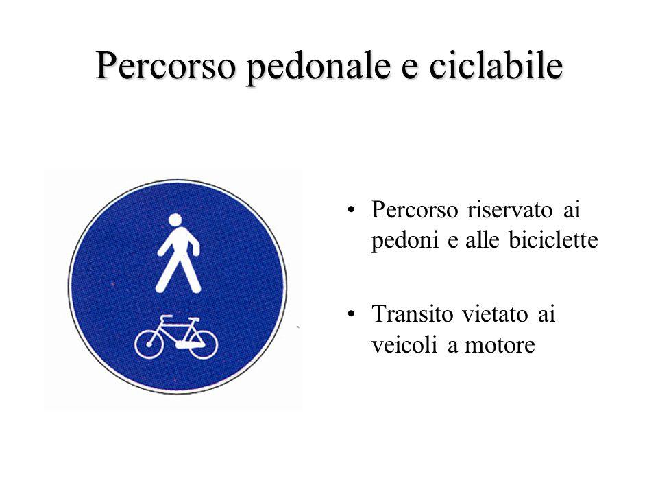 Percorso pedonale e ciclabile Percorso riservato ai pedoni e alle biciclette Transito vietato ai veicoli a motore