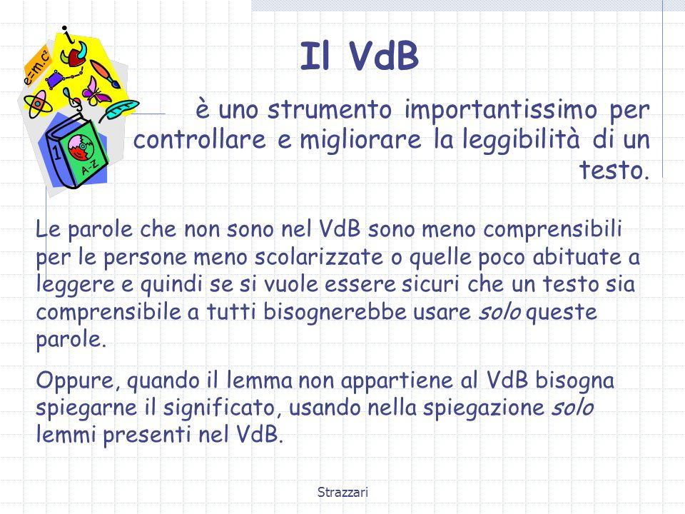 Strazzari Il VdB è uno strumento importantissimo per controllare e migliorare la leggibilità di un testo. Le parole che non sono nel VdB sono meno com