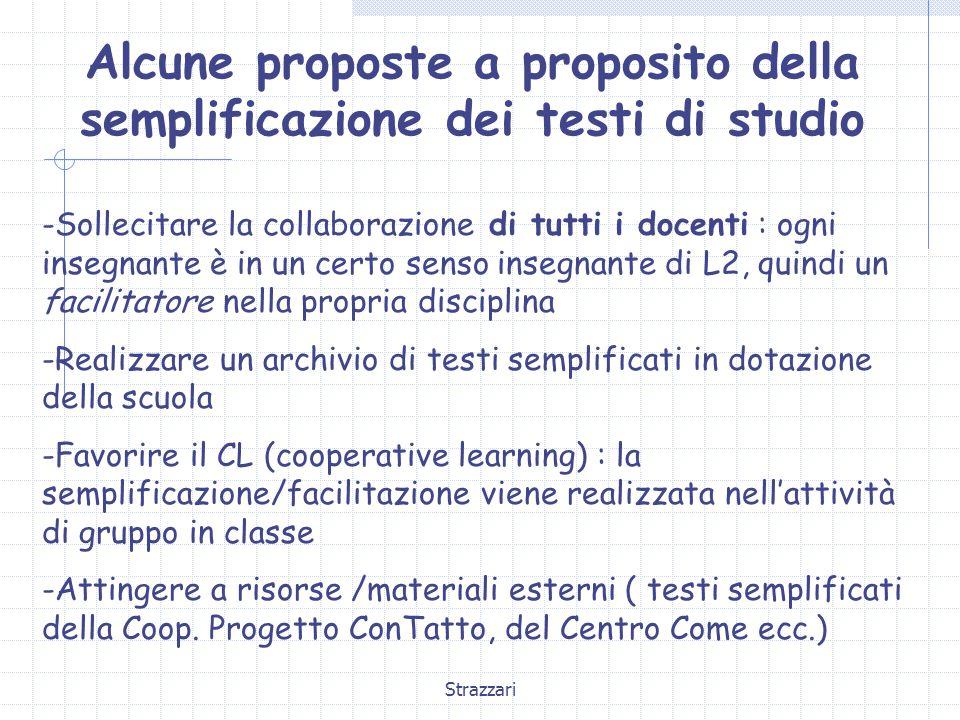 Strazzari Alcune proposte a proposito della semplificazione dei testi di studio -Sollecitare la collaborazione di tutti i docenti : ogni insegnante è