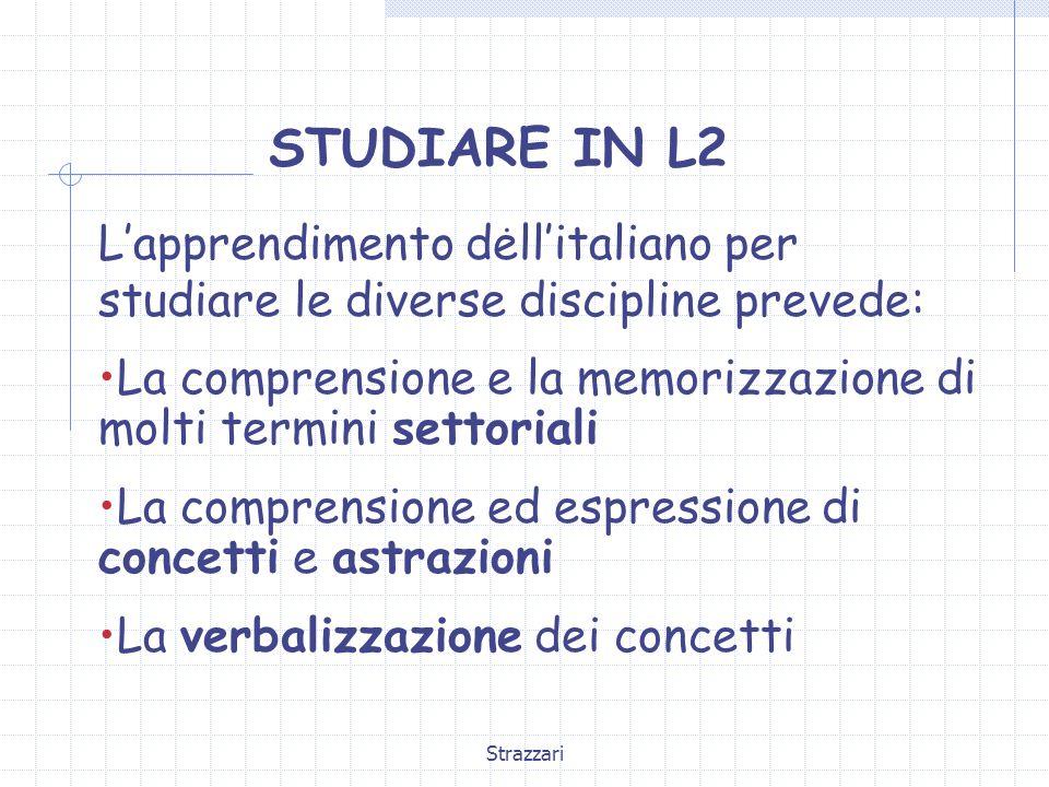 Strazzari STUDIARE IN L2. L'apprendimento dell'italiano per studiare le diverse discipline prevede: La comprensione e la memorizzazione di molti termi