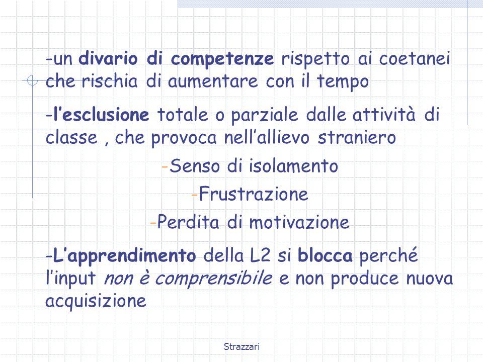 Strazzari -un divario di competenze rispetto ai coetanei che rischia di aumentare con il tempo -l'esclusione totale o parziale dalle attività di class