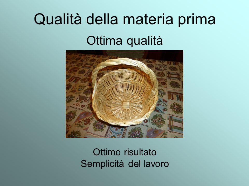 Qualità della materia prima Ottima qualità Ottimo risultato Semplicità del lavoro