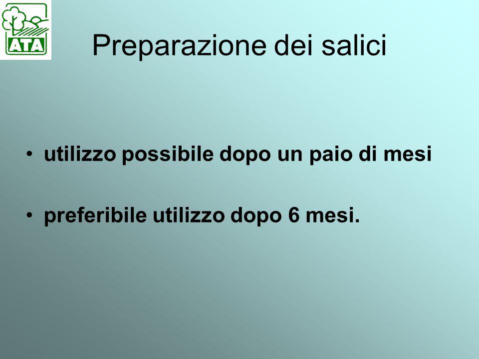 Preparazione dei salici utilizzo possibile dopo un paio di mesi preferibile utilizzo dopo 6 mesi.