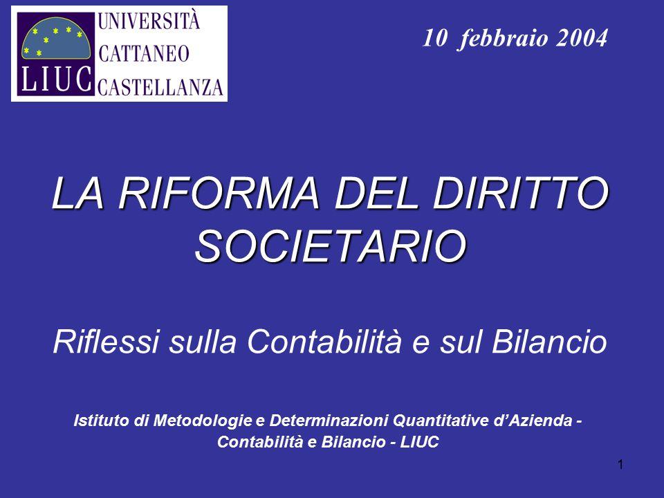 1 LA RIFORMA DEL DIRITTO SOCIETARIO LA RIFORMA DEL DIRITTO SOCIETARIO Riflessi sulla Contabilità e sul Bilancio Istituto di Metodologie e Determinazio