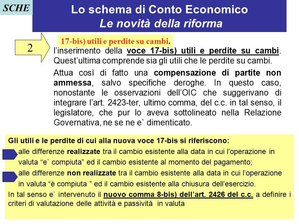 21 Lo schema di Conto Economico Le novità della riforma l'inserimento della voce 17-bis) utili e perdite su cambi. Quest'ultima comprende sia gli util
