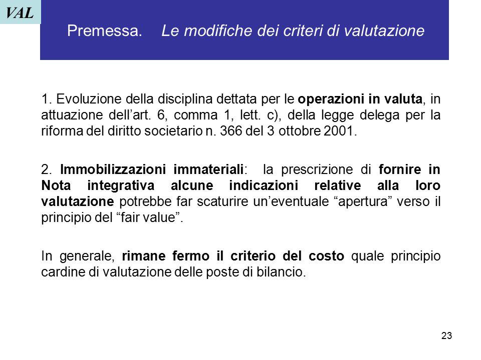 23 Premessa. Le modifiche dei criteri di valutazione 1. Evoluzione della disciplina dettata per le operazioni in valuta, in attuazione dell'art. 6, co