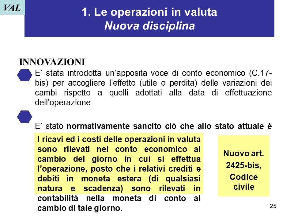 25 1. Le operazioni in valuta Nuova disciplina E' stata introdotta un'apposita voce di conto economico (C.17- bis) per accogliere l'effetto (utile o p