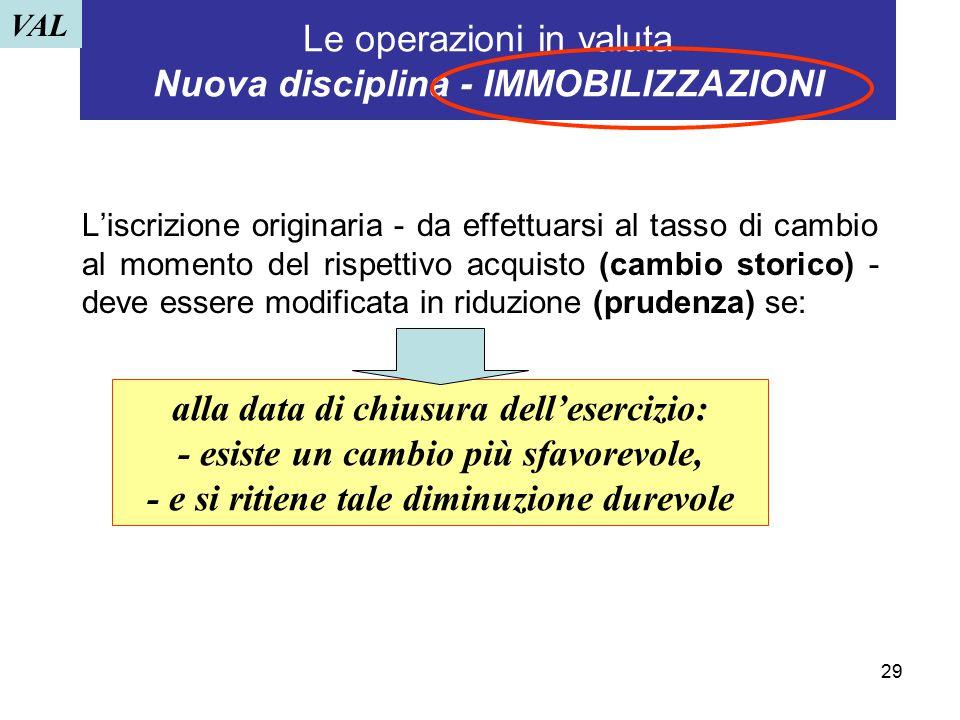 29 Le operazioni in valuta Nuova disciplina - IMMOBILIZZAZIONI L'iscrizione originaria - da effettuarsi al tasso di cambio al momento del rispettivo a