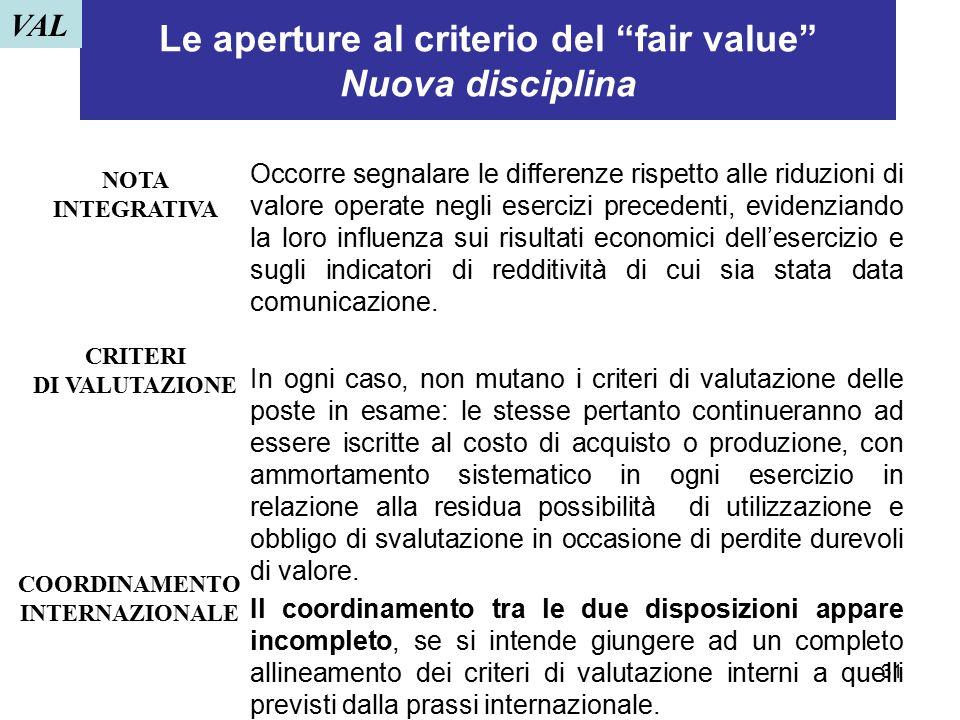 """31 Le aperture al criterio del """"fair value"""" Nuova disciplina Occorre segnalare le differenze rispetto alle riduzioni di valore operate negli esercizi"""