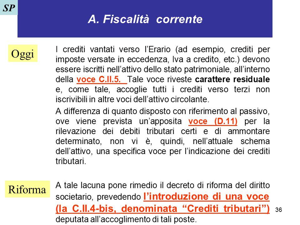 36 A. Fiscalità corrente I crediti vantati verso l'Erario (ad esempio, crediti per imposte versate in eccedenza, Iva a credito, etc.) devono essere is