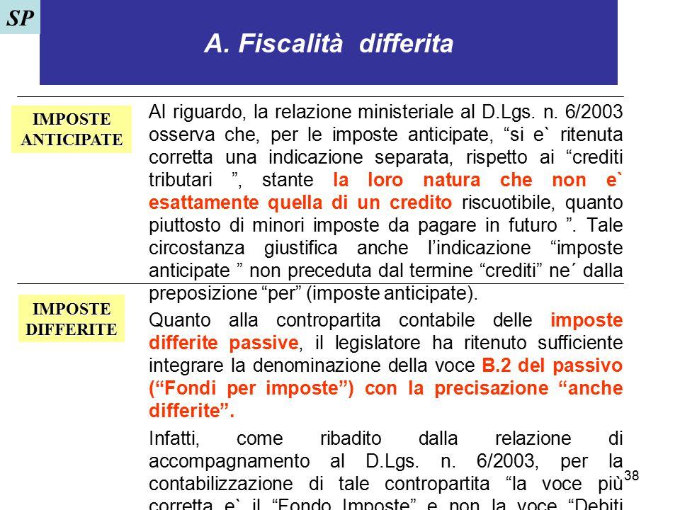 """38 A. Fiscalità differita Al riguardo, la relazione ministeriale al D.Lgs. n. 6/2003 osserva che, per le imposte anticipate, """"si e` ritenuta corretta"""