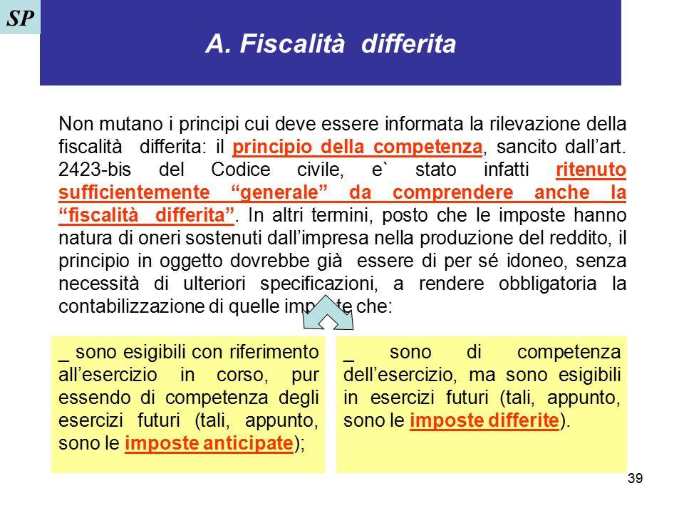 39 A. Fiscalità differita Non mutano i principi cui deve essere informata la rilevazione della fiscalità differita: il principio della competenza, san
