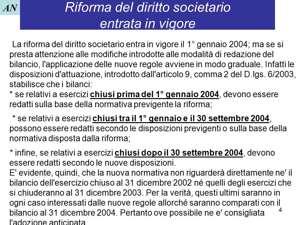 4 Riforma del diritto societario entrata in vigore La riforma del diritto societario entra in vigore il 1° gennaio 2004; ma se si presta attenzione al