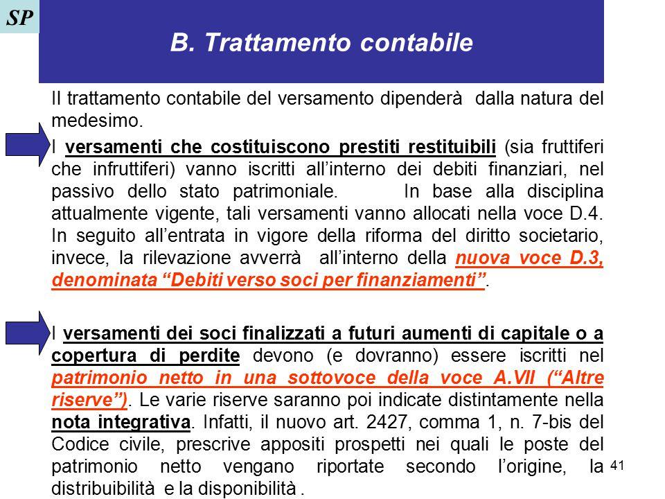 41 B. Trattamento contabile Il trattamento contabile del versamento dipenderà dalla natura del medesimo. I versamenti che costituiscono prestiti resti