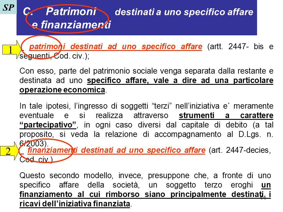 44 C. Patrimoni destinati a uno specifico affare e finanziamenti _ patrimoni destinati ad uno specifico affare (artt. 2447- bis e seguenti, Cod. civ.)