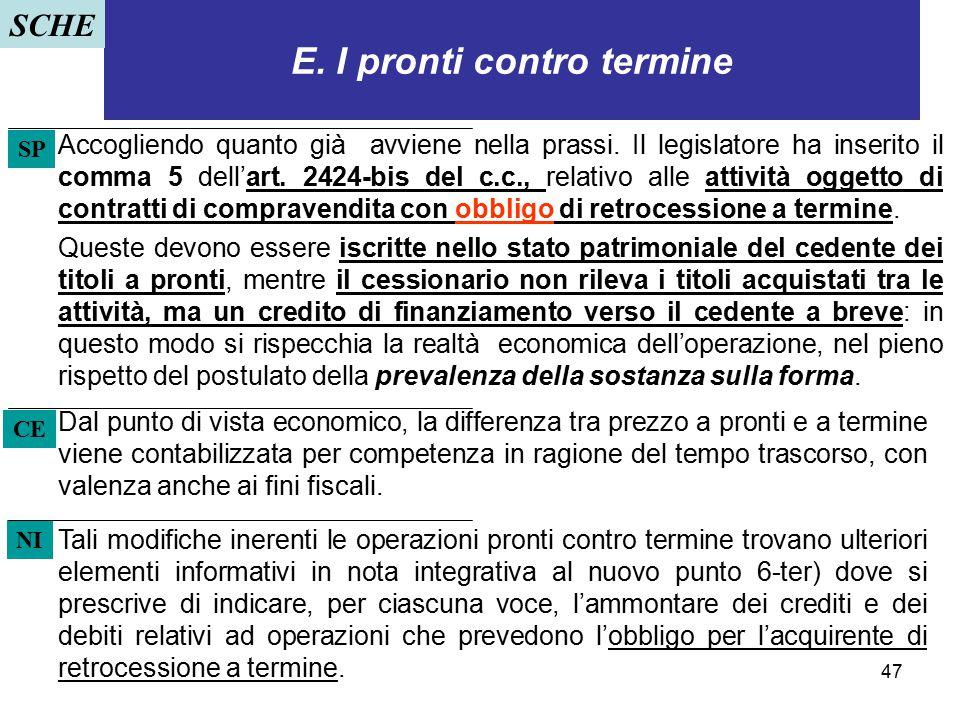 47 E. I pronti contro termine Accogliendo quanto già avviene nella prassi. Il legislatore ha inserito il comma 5 dell'art. 2424-bis del c.c., relativo