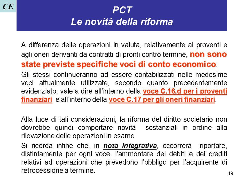 49 PCT Le novità della riforma non sono state previste specifiche voci di conto economico A differenza delle operazioni in valuta, relativamente ai pr
