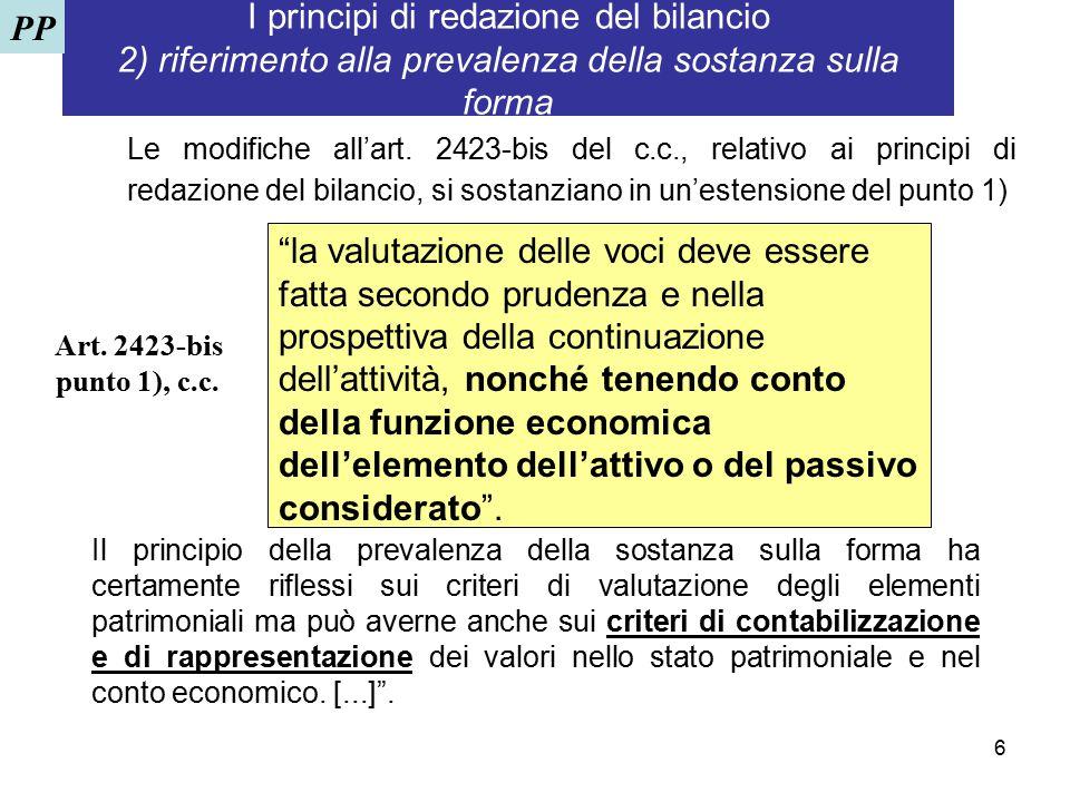 6 I principi di redazione del bilancio 2) riferimento alla prevalenza della sostanza sulla forma Le modifiche all'art. 2423-bis del c.c., relativo ai