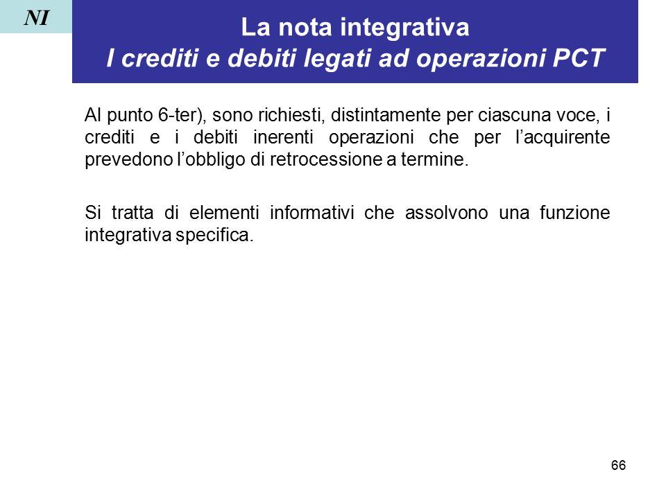 66 La nota integrativa I crediti e debiti legati ad operazioni PCT Al punto 6-ter), sono richiesti, distintamente per ciascuna voce, i crediti e i deb