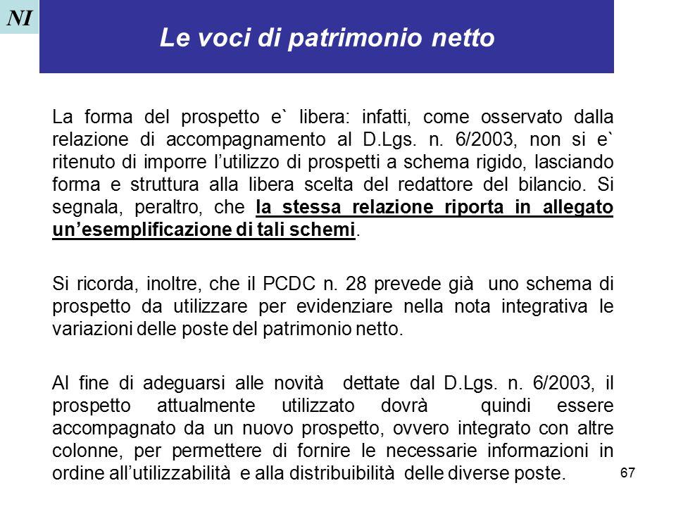 67 Le voci di patrimonio netto La forma del prospetto e` libera: infatti, come osservato dalla relazione di accompagnamento al D.Lgs. n. 6/2003, non s