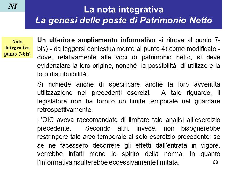68 La nota integrativa La genesi delle poste di Patrimonio Netto Un ulteriore ampliamento informativo si ritrova al punto 7- bis) - da leggersi contes