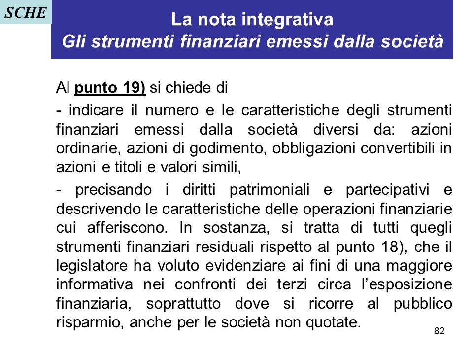 82 La nota integrativa Gli strumenti finanziari emessi dalla società Al punto 19) si chiede di - indicare il numero e le caratteristiche degli strumen