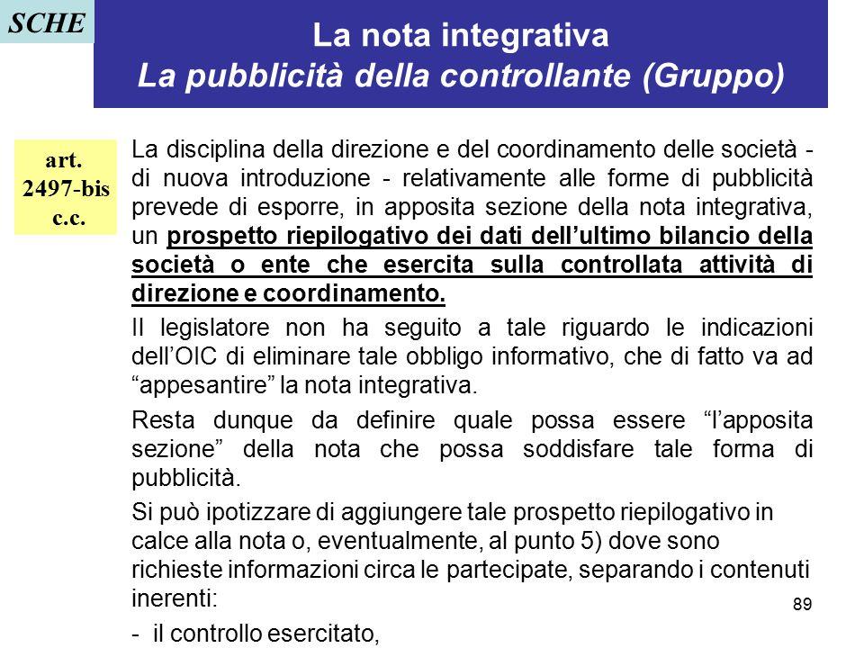 89 La nota integrativa La pubblicità della controllante (Gruppo) La disciplina della direzione e del coordinamento delle società - di nuova introduzio
